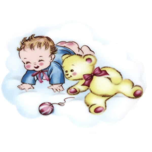 Motiv Baby in blauem Jäckchen mit Teddy