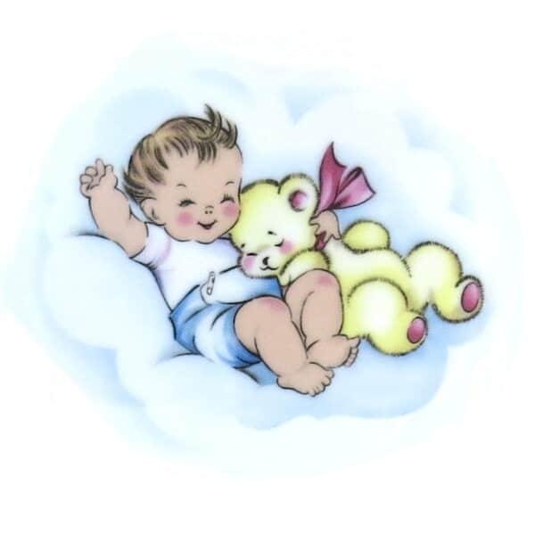 Motiv Baby mit Schlafteddy