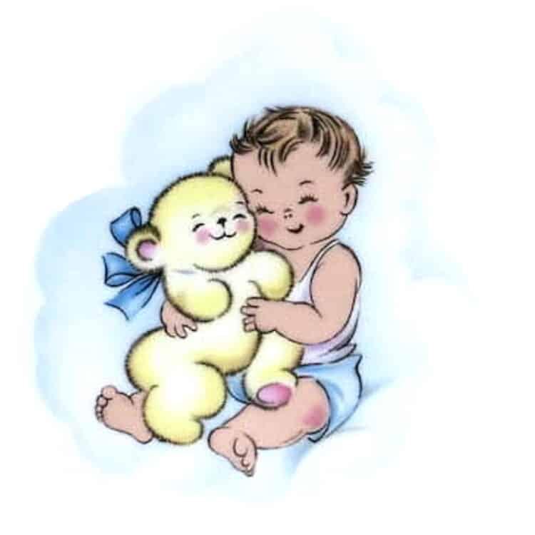 Motiv Baby mit Schmuseteddy