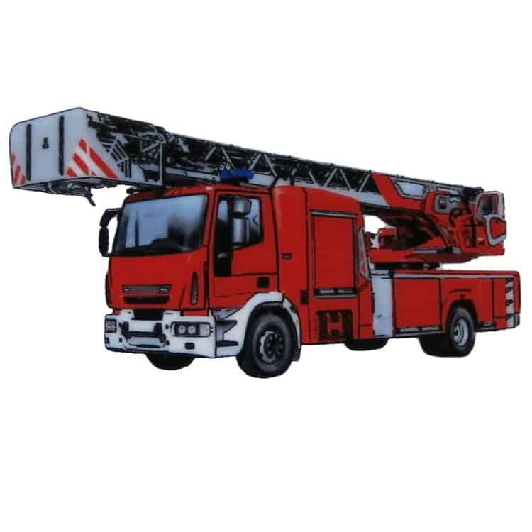 Roter Feuerwehrwagen mit Leiter auf Porzellan