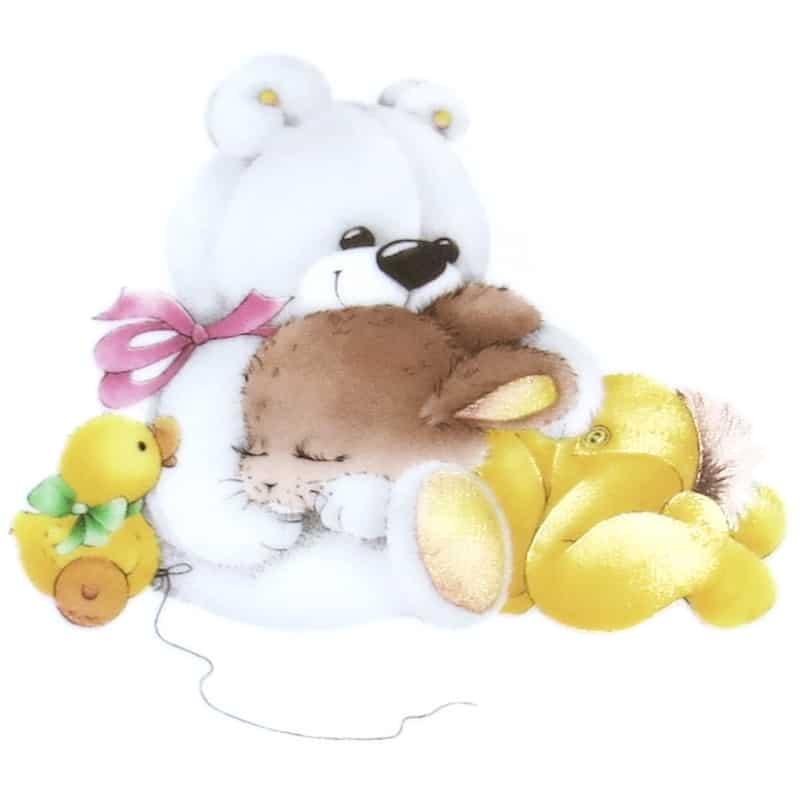 Motiv Kaninchen schlafend auf Teddy