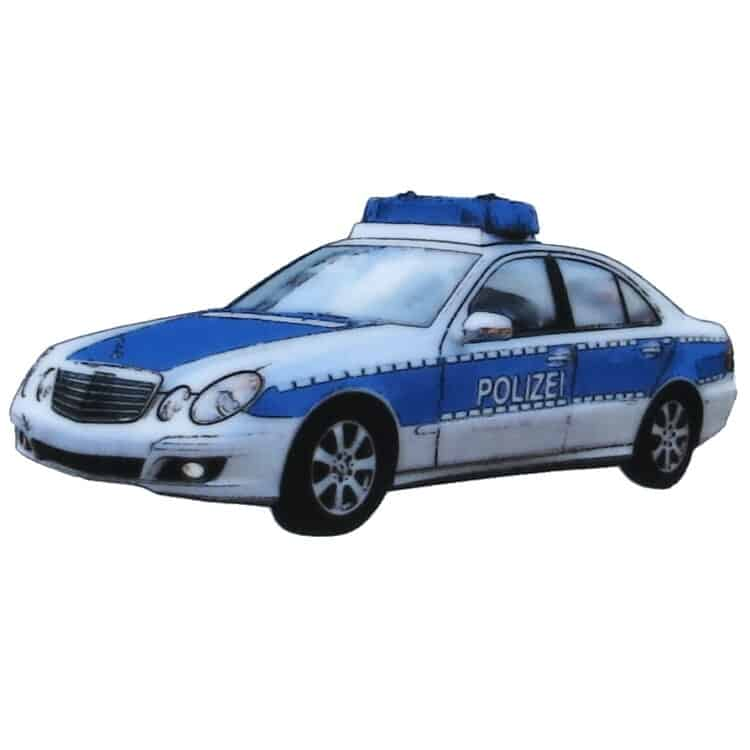 Polizeifahrzeug in blau silber mit Blaulicht auf Porzellan