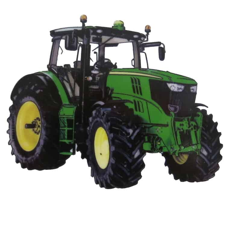 grüner großer Traktor oder Trekker auf Porzellan