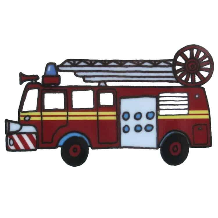 Roter Feuerwehreinsatzwagen mit Leiter und Blaulicht auf Porzellan