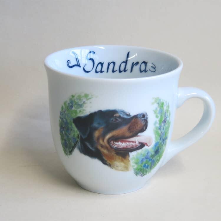 Frühstücksgeschirr Porzellan großer Becher Mirek mit Rottweiler