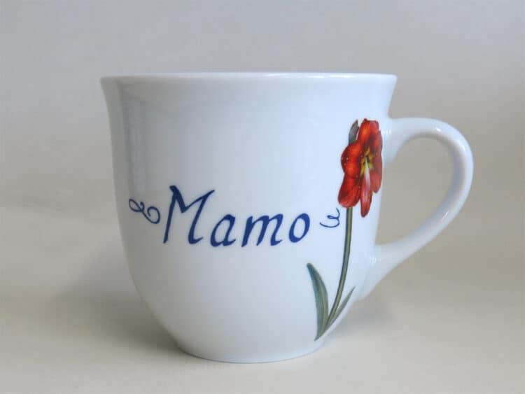 Namenstasse Porzellan großer Becher 400ml mit moderner Blume Amaryllis und Namen
