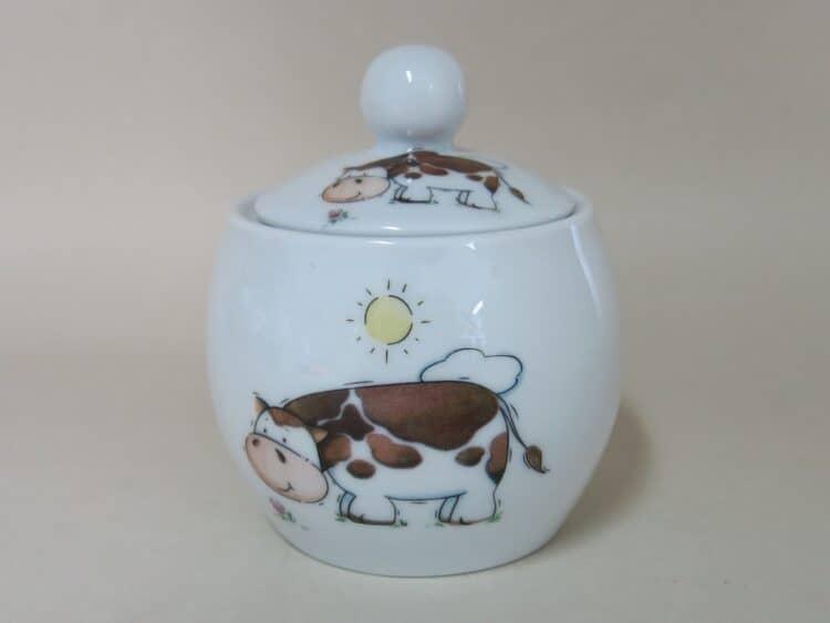 Runde Porzellan Zuckerdose Olympia mit Kuh