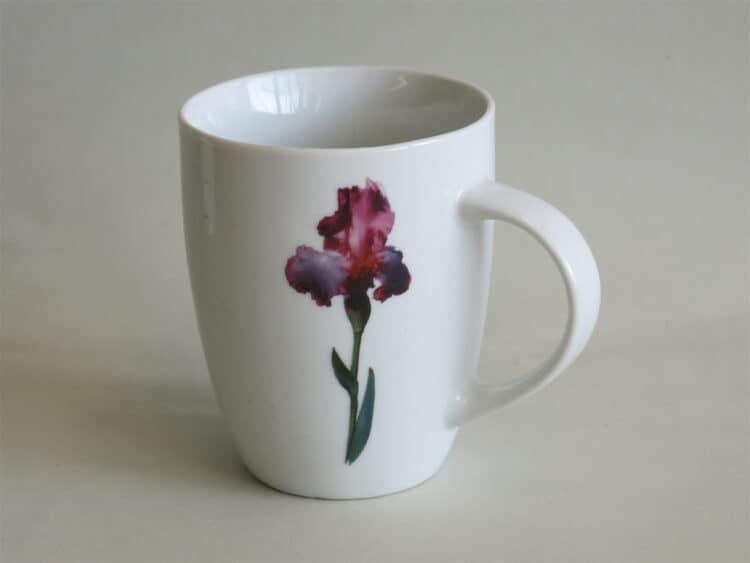 Frühstücksgeschirr Porzellan rundlicher Becher 260ml mit moderner Blume Iris