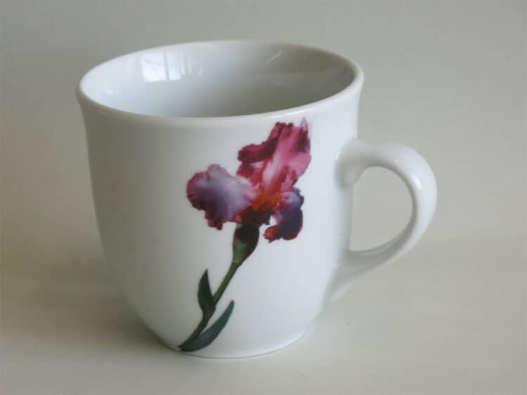 Frühstücksgeschirr Porzellan großer Becher 400ml mit moderner Blume Iris