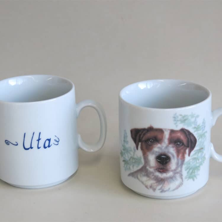 Namenstasse Porzellan gerader Becher Lukas 260ml mit Jack Rusell Terrier und Namen