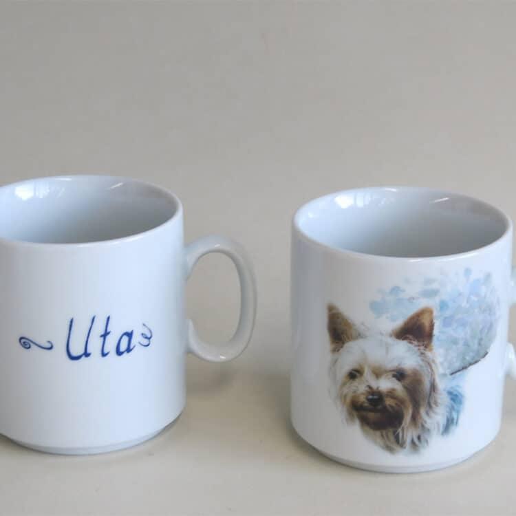 Namenstasse Porzellan gerader Becher Lukas 260ml mit Yorkshire Terrier und Namen
