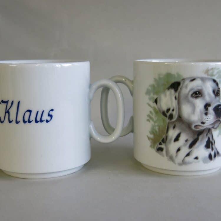 Namenstasse Porzellan gerader Becher Lukas 260ml mit Dalmatinerkopf und Namen