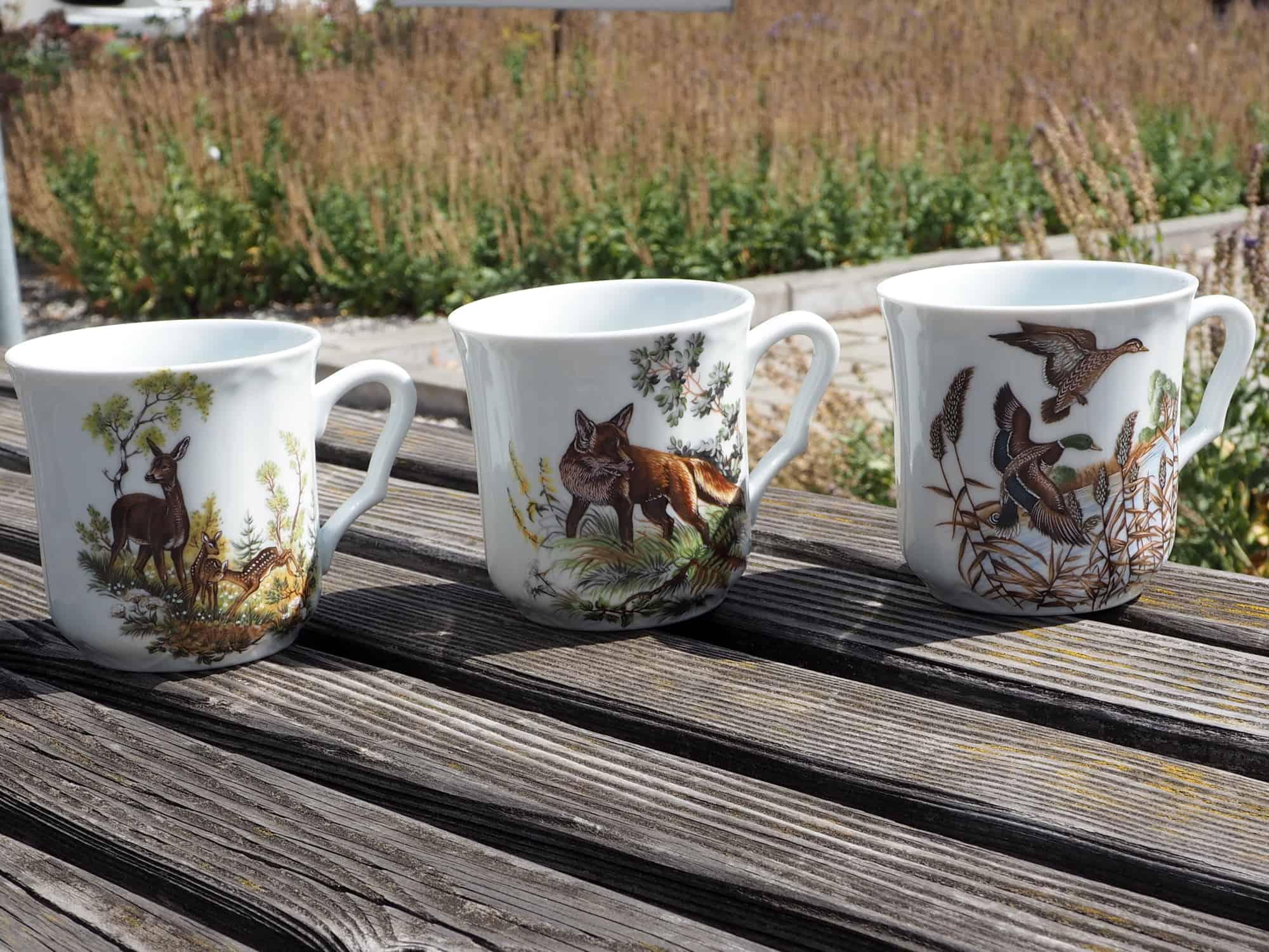 Romantischer Porzellan Becher Anna mit Wildmotiven Fuchs, Reh und Wildenten
