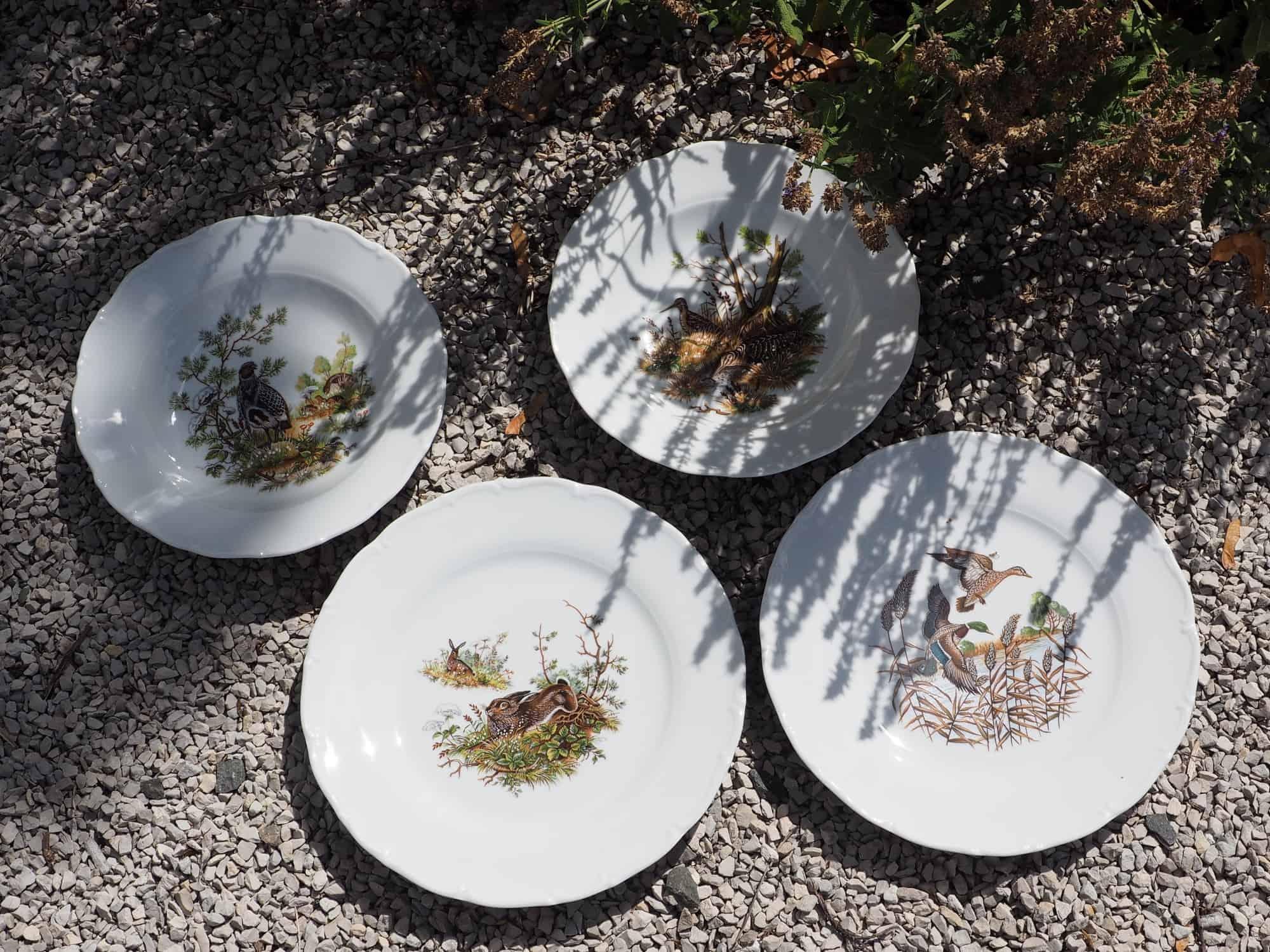 Teller Ofelie mit Jagdmotiven Hase, Rebhuhn ,Schnepfe und Wildenten