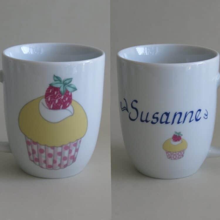 Namenstasse Porzellan Becher Daria 260ml mit Cupcake Erdbeere und Namen