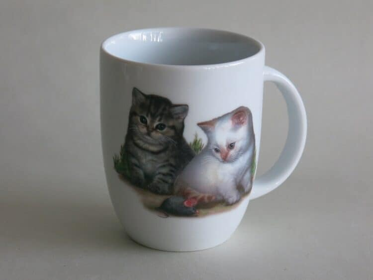 Frühstücksgeschirr Porzellan Becher Daria 260ml mit Kätzchen und Maus