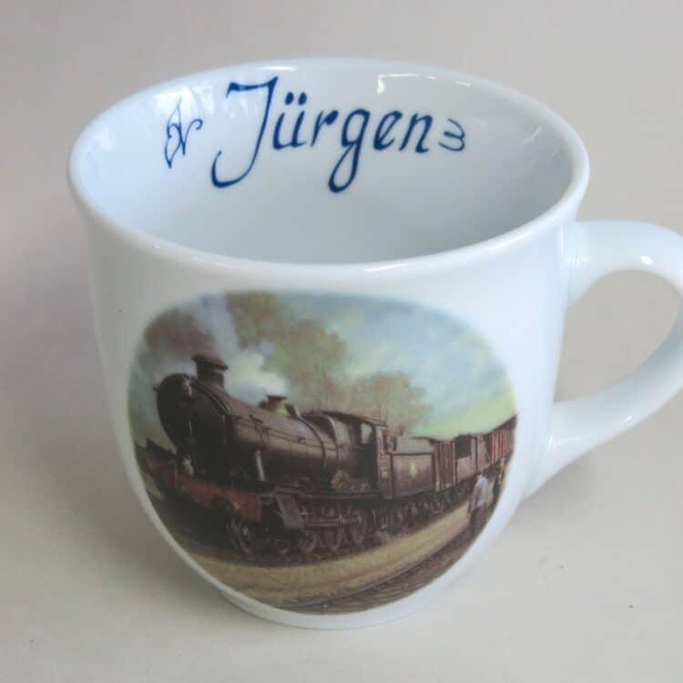 Namenstasse Porzellan großer Becher 400ml mit Bodicot Grange Eisenbahn und Namen innen