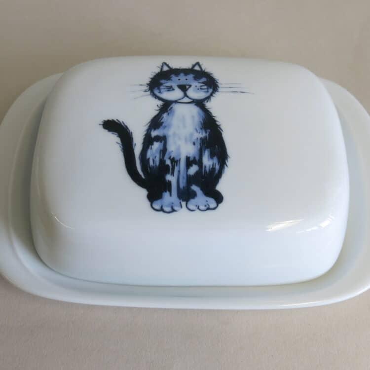 Frühstücksgeschirr Porzellan glatte Butterdose 250g. mit Katze Lilli