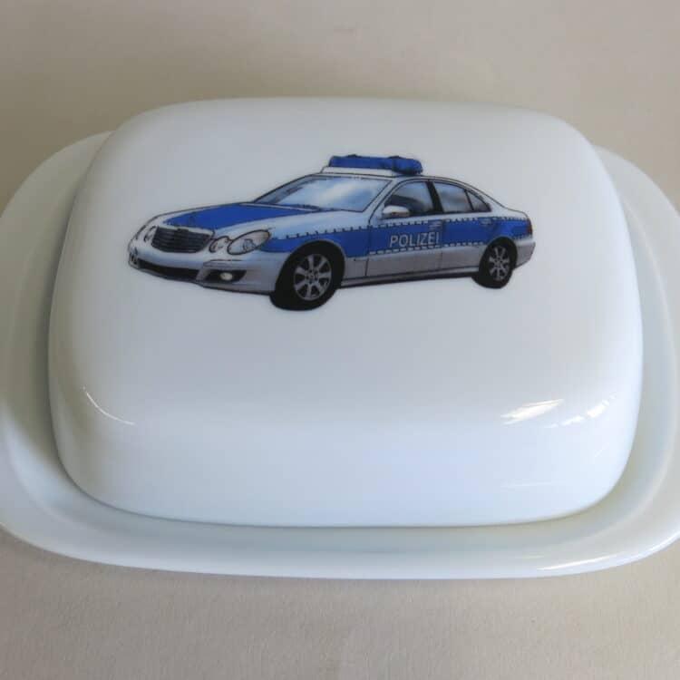 Frühstücksgeschirr Porzellan glatte Butterdose 250g. mit Polizeiauto