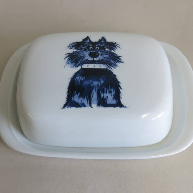 Frühstücksgeschirr Porzellan glatte Butterdose 250g. mit Terrier Fiffi