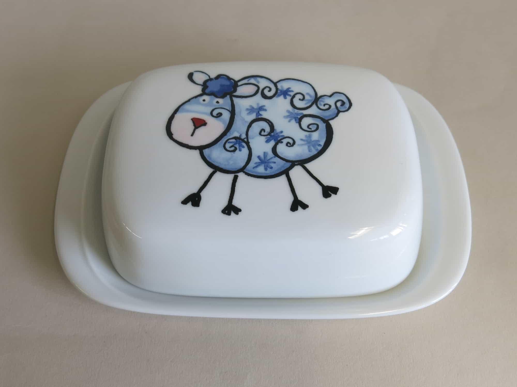 Frühstücksgeschirr Porzellan Butterdose 250g mit blauem Schäfchen Wolke von der Farm