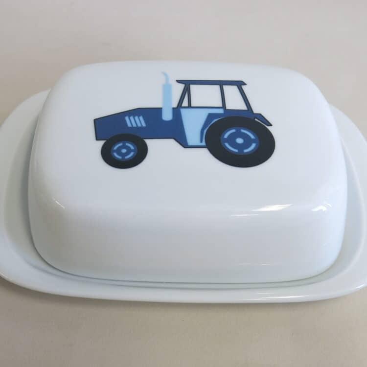 Frühstücksgeschirr Porzellan Butterdose 250g mit blauem Traktor