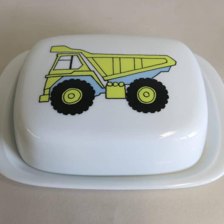 Frühstücksgeschirr Porzellan Butterdose 250g mit gelben Kipplader, LKW