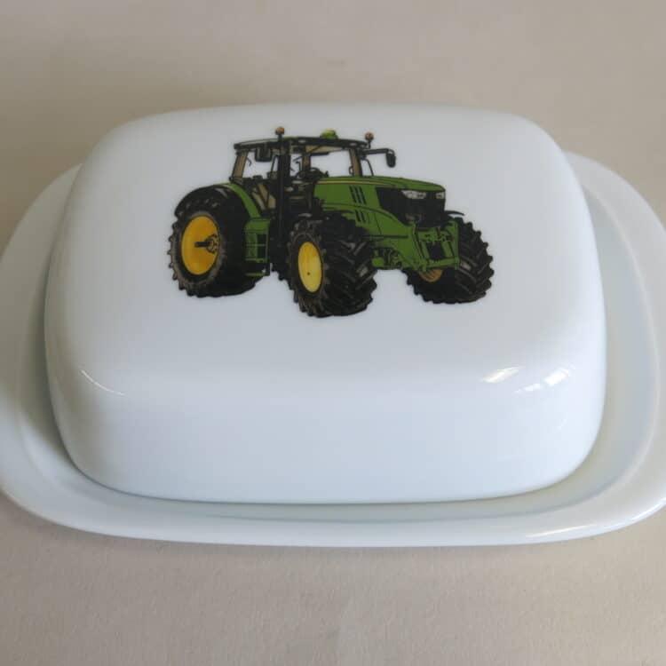 Frühstücksgeschirr Porzellan glatte Butterdose 250g. mit grünem Traktor