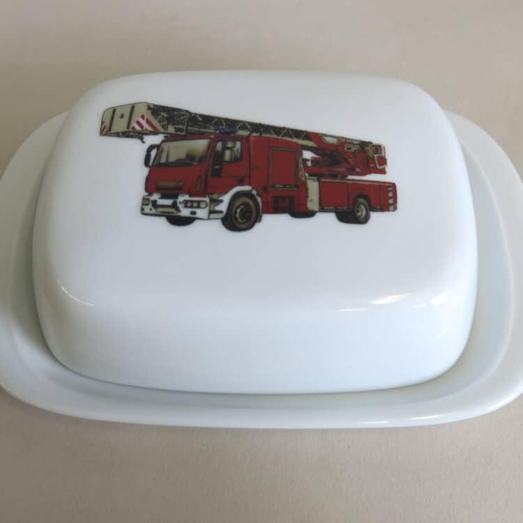 Frühstücksgeschirr Porzellan glatte Butterdose 250g. mit Feuerwehr realistisch