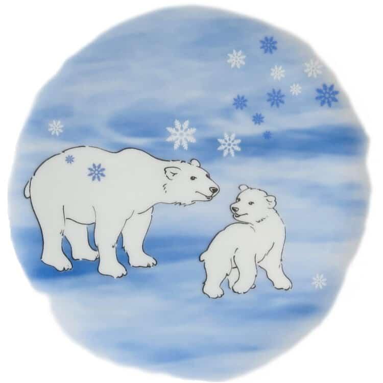 Motiv Vollbild Eisbärbaby mit Mama