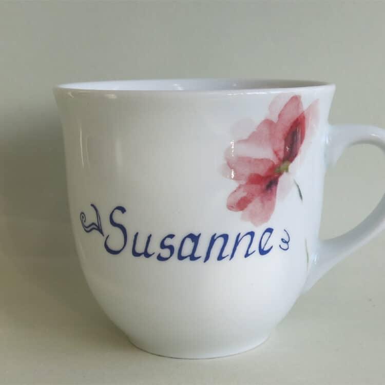 Namenstasse Porzellan großer Becher Mirek 400ml mit rosa Mohn aquarell und Namen
