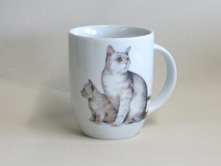 Frühstücksgeschirr Porzellan Becher Daria 260ml mit weißer Katze Snowy und Flocke