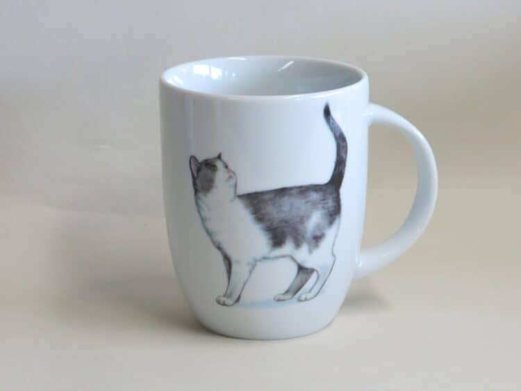 Frühstücksgeschirr Porzellan Becher Daria 260ml mit schwarz weißer Katze Minni