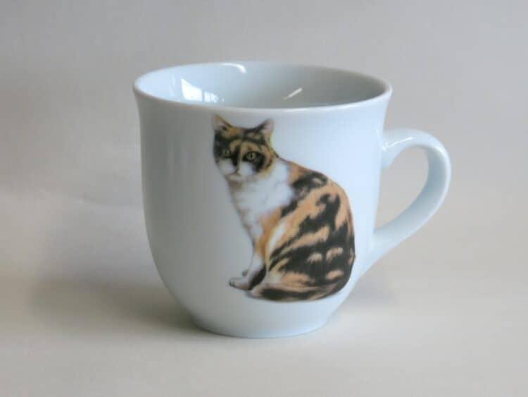 Frühstücksgeschirr Porzellan großer Becher Mirek 400ml mit dreifarbiger Katze Lucky