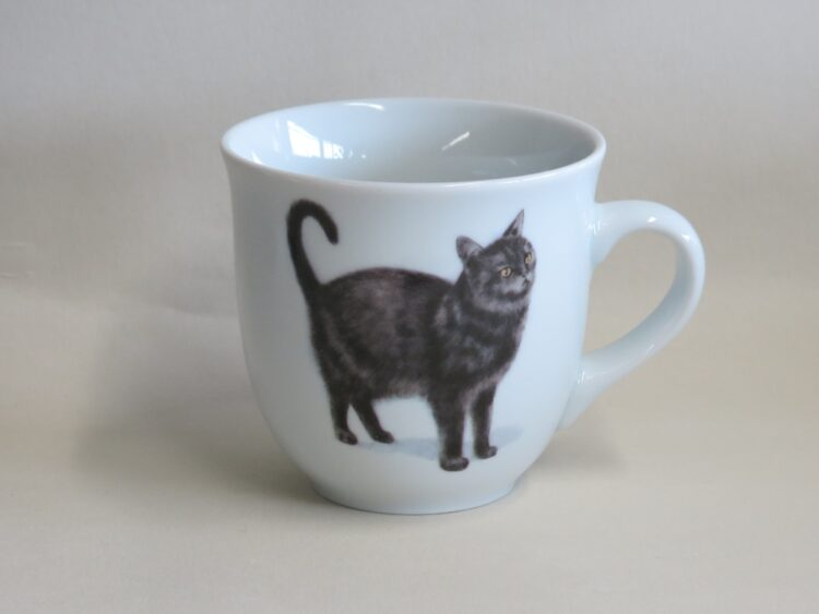 Frühstücksgeschirr Porzellan großer Becher Mirek 400ml mit Schwarzer Katze Murrli