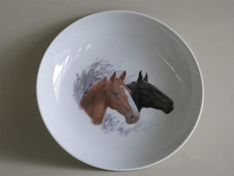 Schale 18 cm mit Pferdeportrait Brauner und Rappe