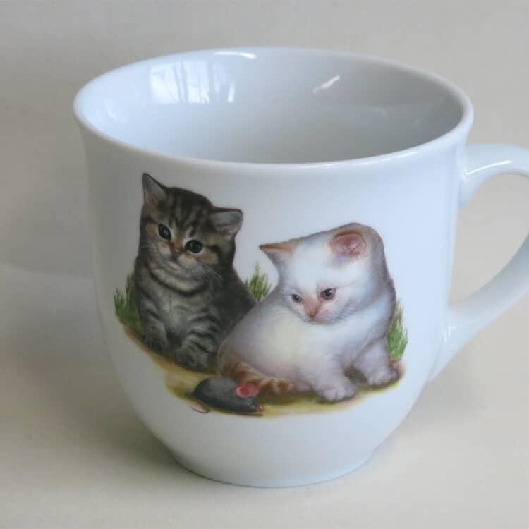 Frühstücksgeschirr Porzellan großer Becher Mirek 400ml mit Kätzchen und Maus
