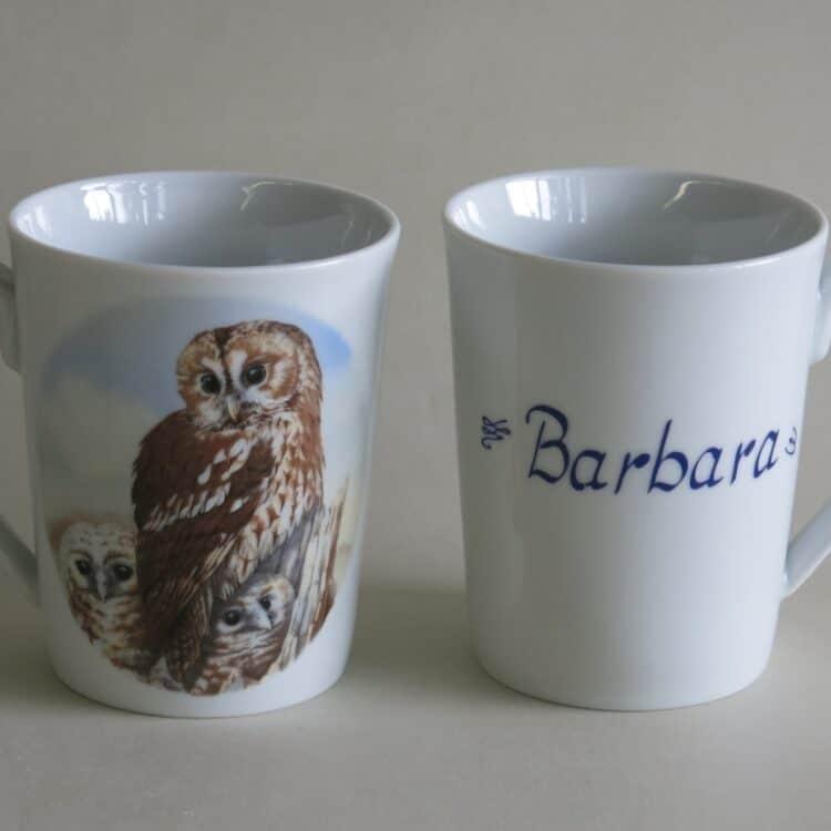 Namenstasse Porzellan Becher Sissi mit rundem Henkel und Käuzchen und Namen