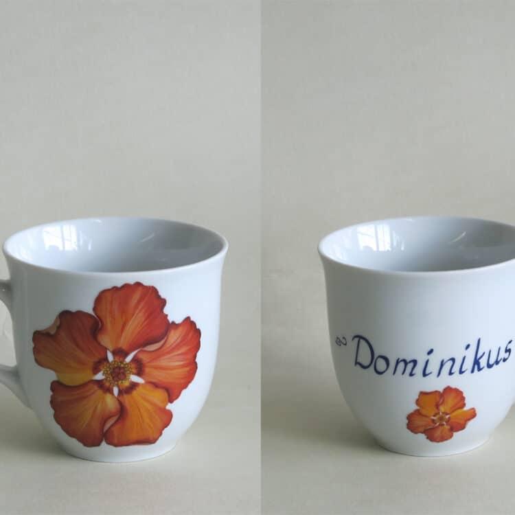 Namenstasse Porzellan großer Becher Mirek 400ml mit orangener Hibiskusblüte und Namen