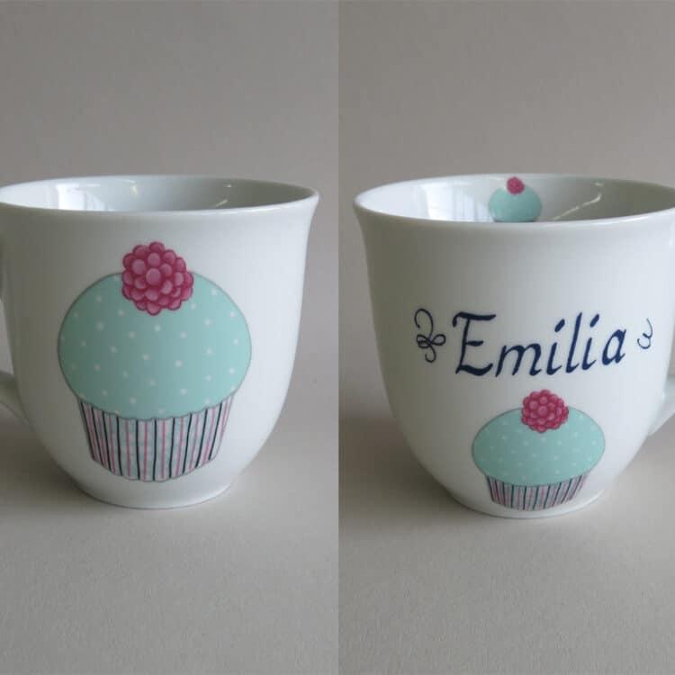 Namenstasse Porzellan großer Becher Mirek 400ml mit Cupcake mint und Namen