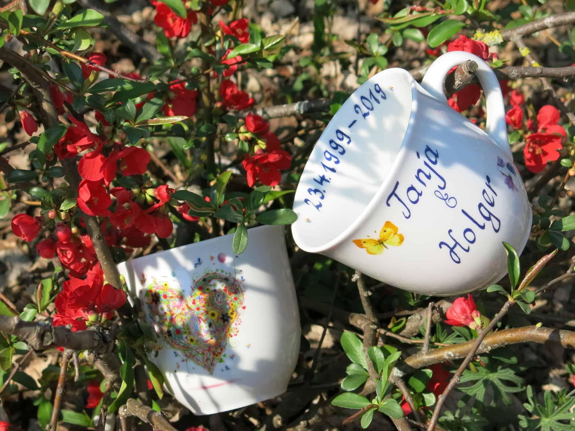 Becher für verliebte Mirek mit Sommerherz und Datum