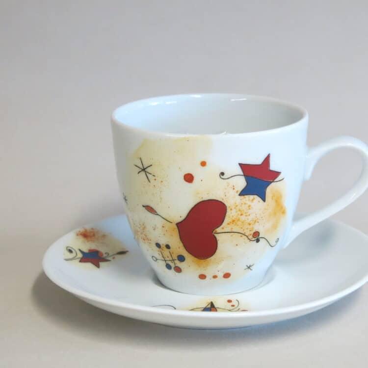 Kaffeetasse Ole Motiv nach Miro Herz und Untertasse