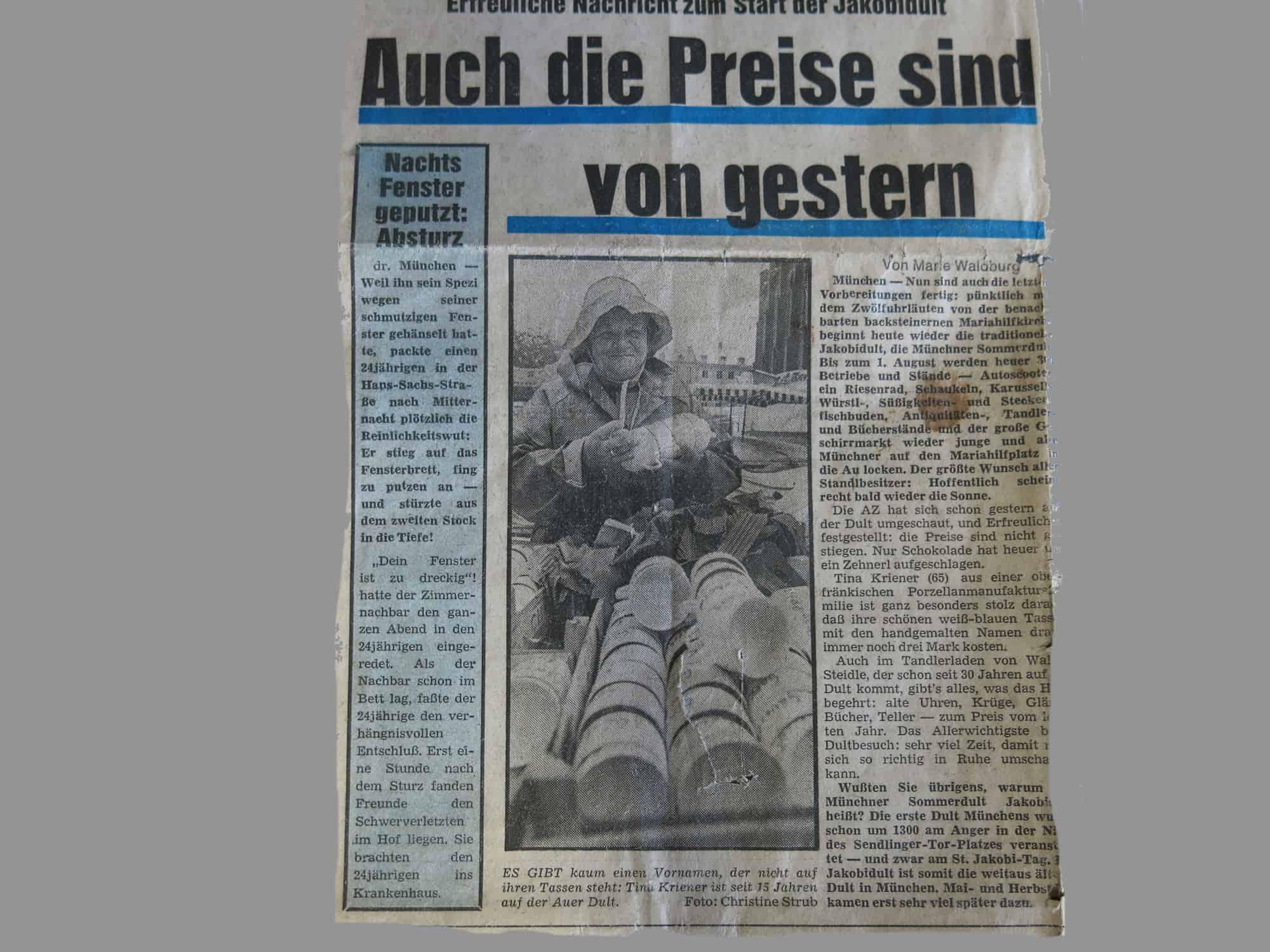 Artikel Abendzeitung München über Auerdult vom 25. -26. August 1975