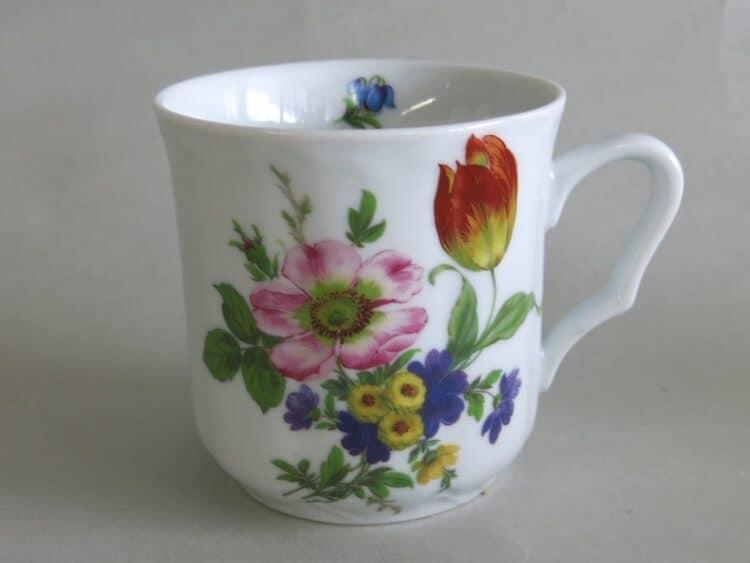 Becher Anna Blumenbukett Bukett Art 1090 Rosa Wildrose und orangene Tulpe 1090