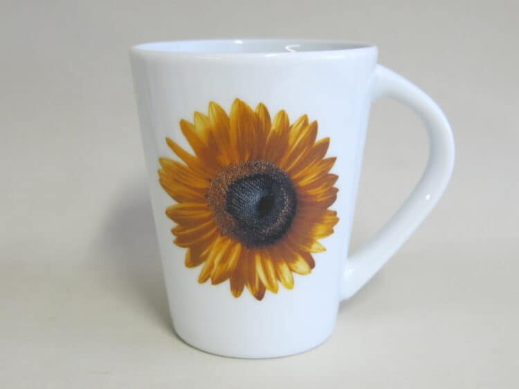 Becher 260 ml mit Sonnenblumenblüte auf weißem Porzellan