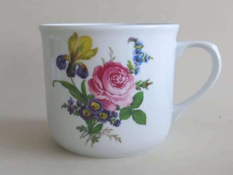 Frühstücksgeschirr Porzellan feuerfester Becher Hot Pot 600ml mit Blumenbukett englische Rose und Iris 1090