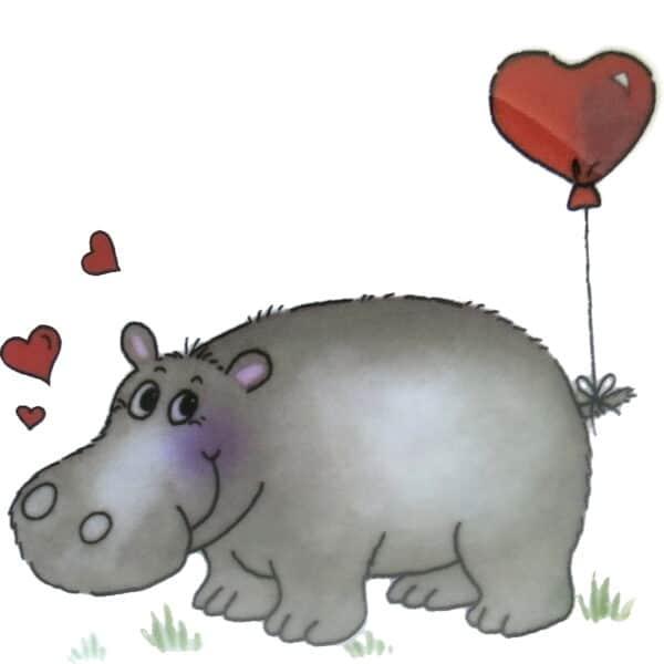 Süßes Nilpferd mit Herzen und Herzluftballon am Schwanz