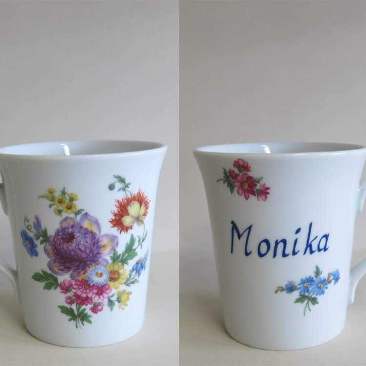 Namenstasse Porzellan eleganter Becher Emma mit Artischockenblüte 555 und Namen