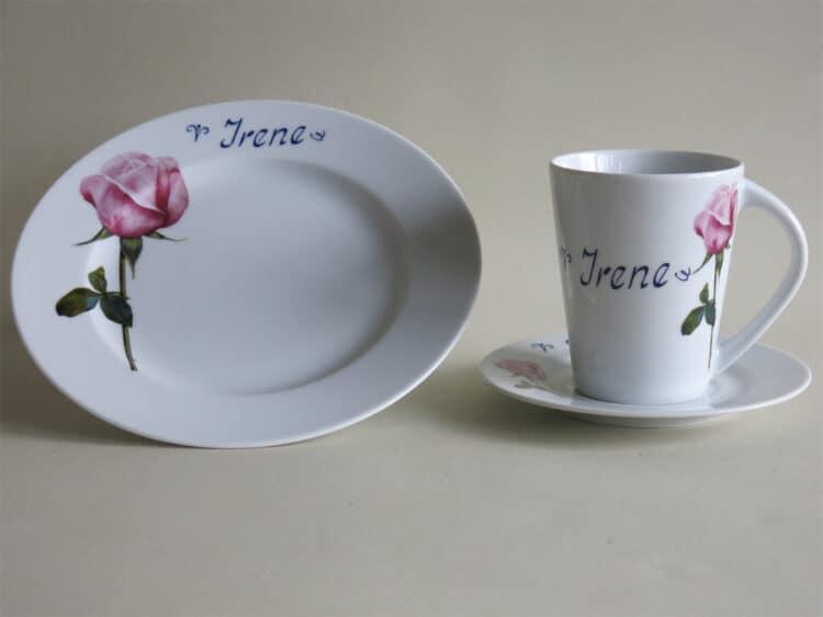 Frühstückset rosa rose Becher Clio