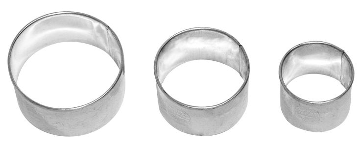 dreifach Kreise aus Weißblech Ausstecher von Birkmann 4, 5 und 6 cm